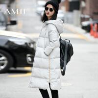AMII[极简主义]秋冬装新款连帽加厚过膝大码中长款羽绒服女装
