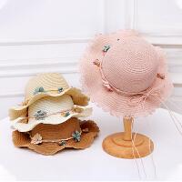 儿童遮阳帽女童帽子夏季薄款男童帽子遮阳草帽婴儿沙滩帽凉帽