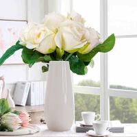 仿真花新娘手捧花 玫瑰芍药绢花 装饰品塑料花束 装饰花假花+花瓶套装 一束香槟玫瑰+白色U型瓶 花瓶高19cm