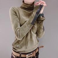 金丝绒打底衫女高领修身长袖T恤秋冬女士上衣百搭欧货小衫