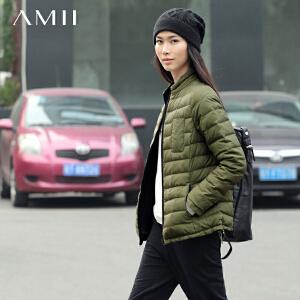 AMII[极简主义]秋冬装撞色两面穿短款立领修身羽绒服多色女11531240