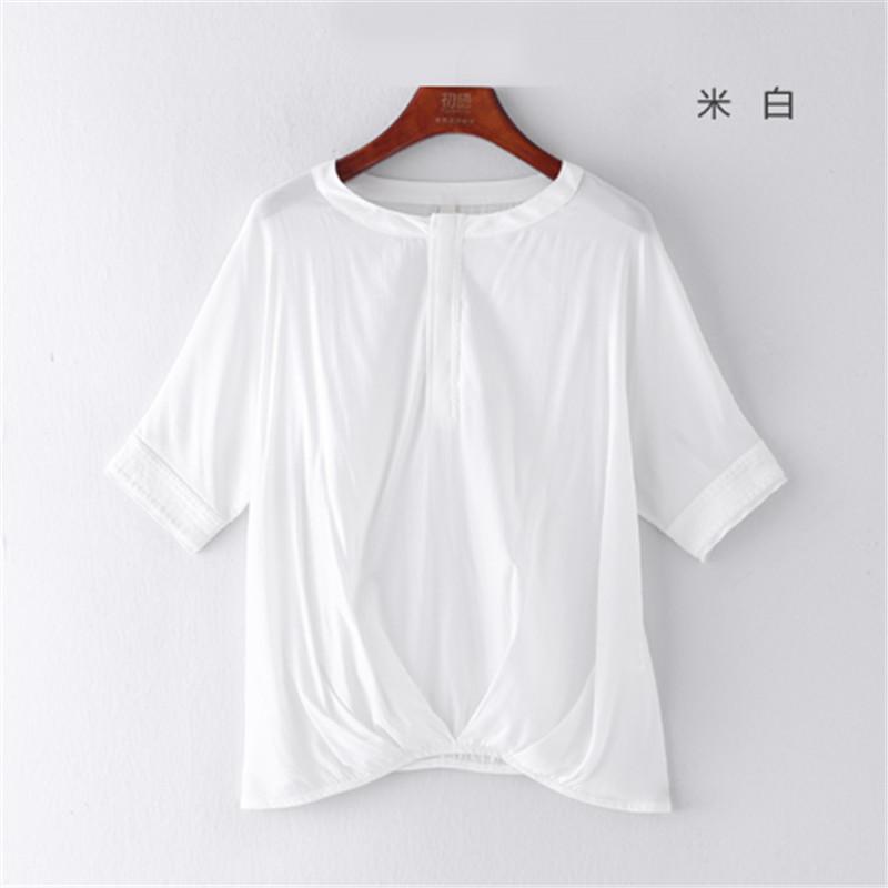 初语夏季新款中式半开襟圆领布料拼接剪裁褶皱不规则下摆蝙蝠衬衣