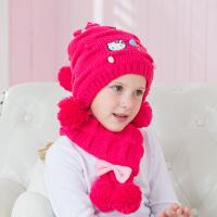 HelloKitty凯蒂猫儿童帽子围巾套装冬宝宝毛线套头女孩针织帽幼儿保暖帽KT9023