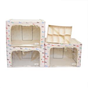 乐扣乐扣(lock&lock)小狗图案百纳箱4件套装LLB575WSH604米白色 66L2个/55L1个/6.5L1个收纳盒整理箱收纳箱