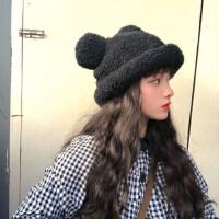 小清新卖萌毛绒帽子女秋冬休闲学生软妹可爱米奇耳朵渔夫帽盆帽