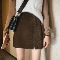 冬季新款女装高腰显瘦港味半身裙女a字裙毛绒包臀裙短裙子潮