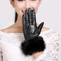 皮手套女士可爱兔毛口冬季时尚绵羊皮加绒户外骑行保暖真皮手套