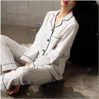 春秋季睡衣女夏纯棉长袖薄款休闲套装开衫简约条纹棉质家居服