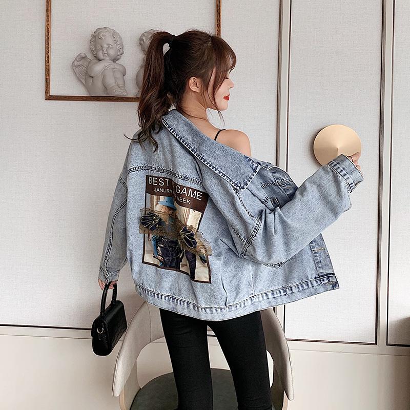 牛仔外套女春季新款韩版高腰小个子百搭贴布简约学生夹克6021