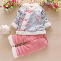 婴儿拜年服女童汉服棉袄秋冬季新年装唐装周岁宝宝衣服女