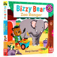 进口英文原版绘本 Bizzy Bear Zoo Ranger 小熊很忙系列 忙碌的小熊忙着当动物园管理 机关操作纸板游