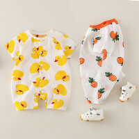 0-1岁男女宝宝可爱爬服哈衣夏季新款婴儿短袖薄款外出连体衣