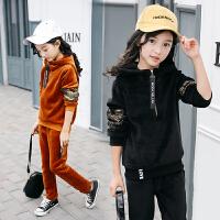 女童秋装金丝绒套装2018新款潮中大童女孩韩版加厚加绒洋气两件套