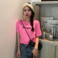 港风百搭宽松上衣女春季新款韩版显瘦字母印花短袖T恤学生打底衫