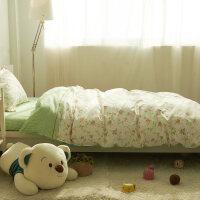 纯棉学生宿舍被套单人床上三件套床品 儿童床单1.2米床上用品全棉 全工艺 柳上花