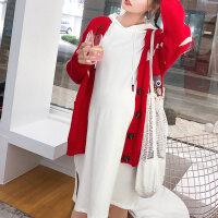 孕妇毛衣女秋冬季2018新款时尚宽松针织衫开衫外套孕妇装秋装上衣SL007 均码