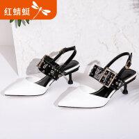 【红蜻蜓限时抢购,1件2折】红蜻蜓女鞋春夏新款中空细跟尖头高跟鞋女优雅时装女单鞋