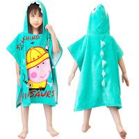 全棉儿童卡通浴袍彩虹佩奇浴巾社会人乔治恐龙中大童带帽吸水斗篷