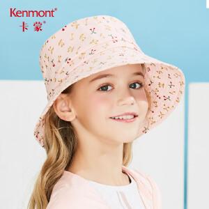 卡蒙6-9岁小女孩渔夫帽宽檐宝宝防晒帽沙滩夏季遮阳帽日系百搭棉 4691