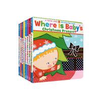 美国知名的低幼读物作家卡伦・卡茨Karen Katz Where is baby系列8本套装 纸板翻翻书 幼儿启蒙认知亲子读物where is baby belly button?
