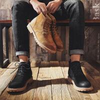 ZHR男鞋冬季潮流靴子加绒保暖平底鞋时尚百搭圆头系带马丁靴复古短靴工装靴高帮鞋男2018新款