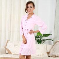 浪莎家居服女士甜美舒适时尚睡衣吊带+长袖睡袍春秋款两件套