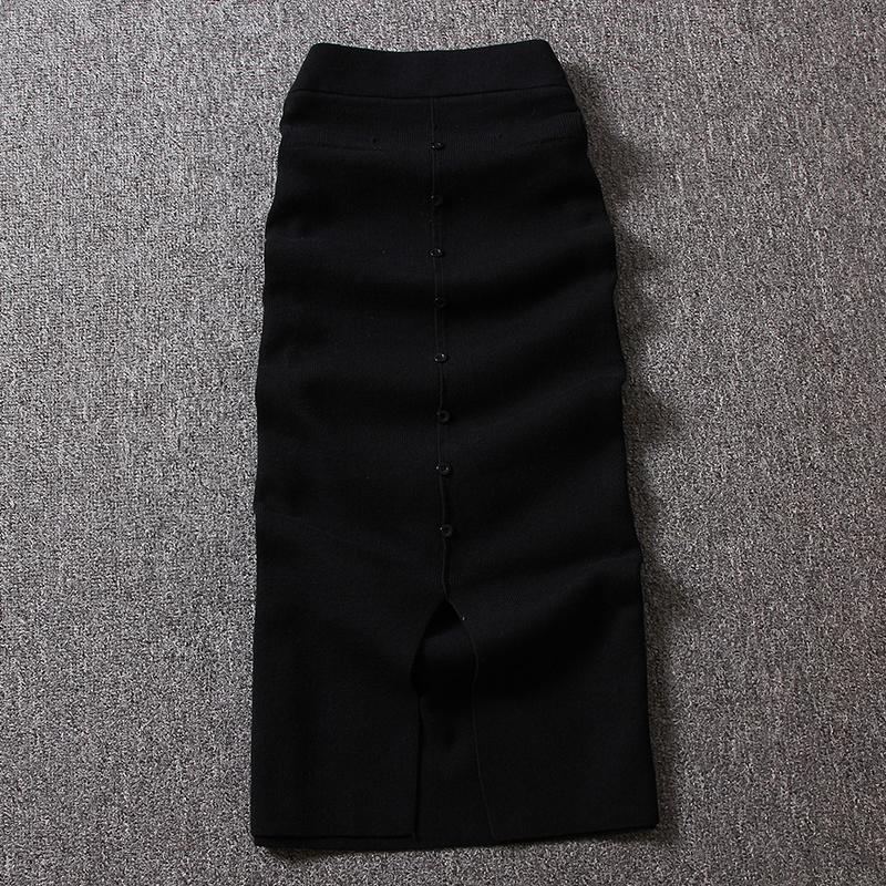 2018秋冬装新款时尚裙子气质包臀半身裙松紧腰前开叉针织中长裙女 黑色 均码