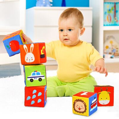 橙爱 奇趣森林6个装布质积木 带摇铃响纸益智玩具 婴儿布制套装礼盒益智玩具限时钜惠
