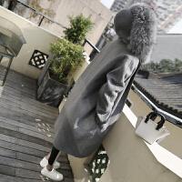 毛呢外套女中长款韩版2018新款秋冬反季厚毛领呢子大衣带帽 灰色加棉加厚