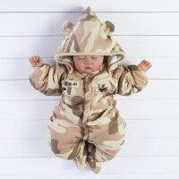 婴儿连体衣婴儿连体衣服迷彩秋冬装3个月0哈衣6冬季男宝宝外出服9爬行装XM-7 迷彩