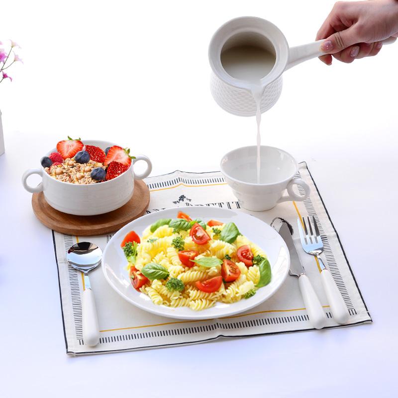 儿童餐盘创意一人食亲子套装餐具西餐盘子儿童刀叉勺早餐牛奶杯简约wk-120