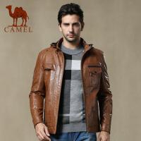 CAMEL 骆驼 新款男士休闲皮衣直筒皮外套朋克装