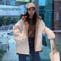 外套女新款秋冬韩版学生宽松加厚仿羊羔毛中长款连帽棉衣潮 均码 蓝色