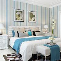2019新品卧室墙纸 地中海壁纸客厅 蓝色竖条纹现代简约风格无纺布墙纸 仅墙纸