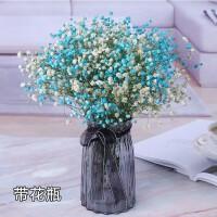 勿忘我干花装饰满天星干花花束真花带花瓶插花客厅家居摆设小清新 蓝色+白色 满天星带花瓶 干花包