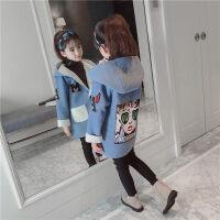 女童大衣童装女童秋冬装呢大衣2018冬季新款韩版儿童中长款时尚洋气外套潮ZQ71蓝