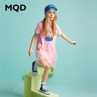 【2件3折:129】MQD童装女童连衣裙2020夏季新款印花拼接纱裙宽松圆领儿童裙子潮