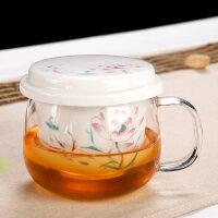 【热卖新品】耐热玻璃茶杯带把陶瓷过滤内胆带盖家用办公室男女茶水分离泡茶杯