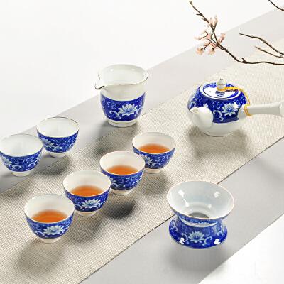 【好店】【好店】陶瓷功夫茶具龙泉青瓷手绘客厅盖碗茶壶茶杯荷花简约整套茶具套装