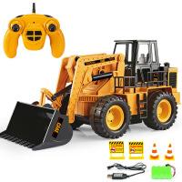 2.4G电动遥控工程车模型 六通道可充电仿真推土车 遥控铲车玩具