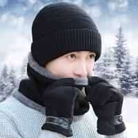 毛线帽子男冬天骑车保暖加绒加厚针织围脖围巾韩版冬季帽