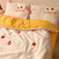 ins毛巾绣全棉纯棉床上用品四件套宿舍床单人3三件套儿童被套床笠