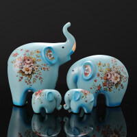创意大象摆件一家三口四口象房间客厅电视柜玄关装饰品礼品