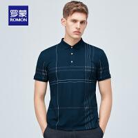 罗蒙短袖条纹Polo衫男2021夏季新款时尚休闲翻领T恤中青年打底衫