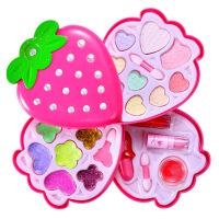 儿童彩妆化妆品玩具套装女孩饰品过家家指甲油唇彩眼影套装手提盒 草莓化妆盒 3.2号发货