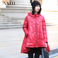 AMII[极简主义]新品立领连帽宽松不规则下摆羽绒服11581472