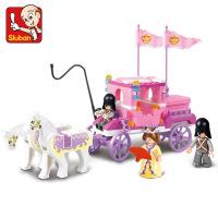 小鲁班小颗粒拼装积木6-10十岁女孩少女心玩具小学生拼图公主马车 +送拆件器