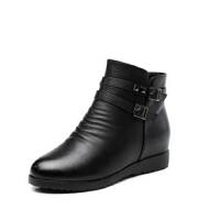 冬季妈妈鞋棉鞋中老年人女鞋中年防滑女靴 平底坡跟短靴女加绒保暖
