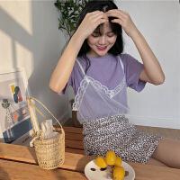 三木子快时尚女装~蕾丝网纱吊带+紫色T恤+豹纹包臀高腰A字裙套装