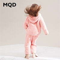 MQD童装女童连帽家居服套装2019冬装新款法兰绒加厚保暖睡衣睡裤